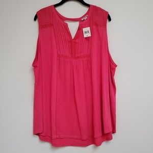 NWT Lucky Brand Pink Lace Pleated Flowy Top 3X